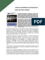 19ª EDIÇÃO DA REVISTA ELETRÔNICA DE TECNOLOGIA E CULTURA É LANÇADA NA FATEC JUNDIAÍ
