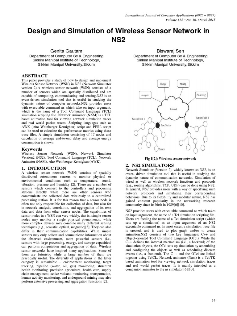Design and Simulation of Wireless Sensor Network in Ns2 | Wireless