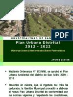 Plan Urbano Observaciones y Recomendaciones Al 30-12-2012