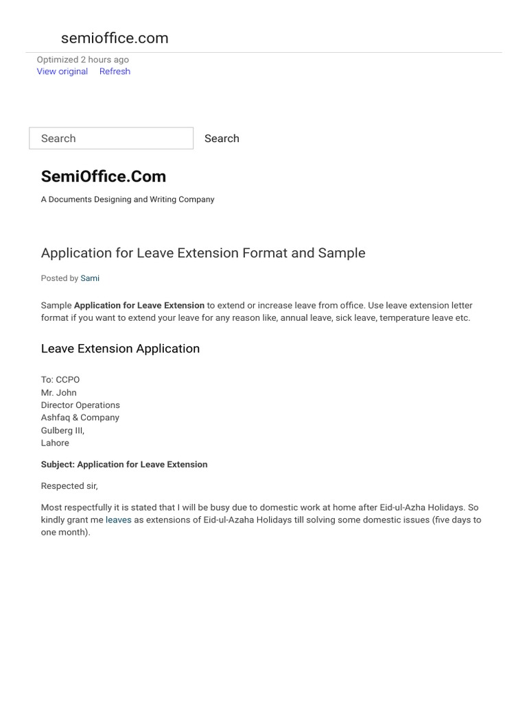 how much postage for a letter application for leave extension format and sample 1288
