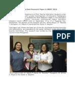22. PNU Bags Best Research Paper in IHERF 2016
