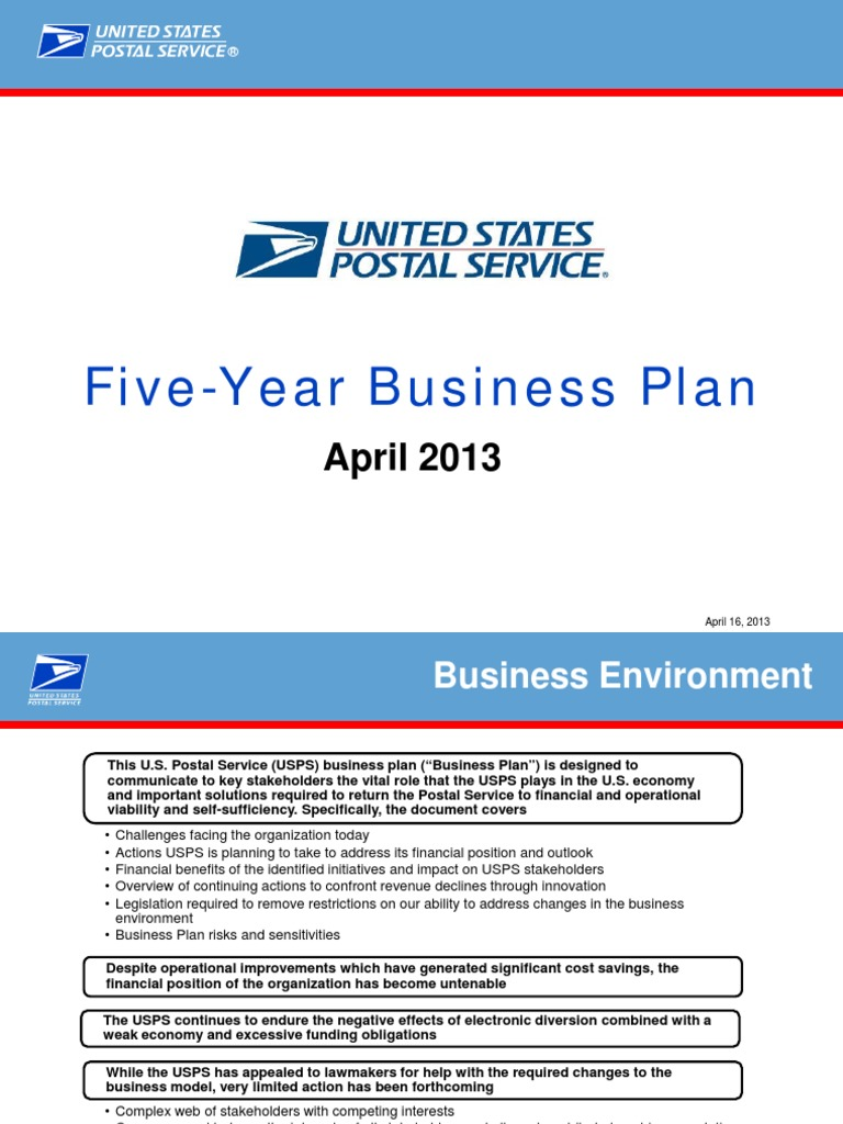 5 Years Business Plan | United States Postal Service | Mail