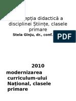 Concepția Didactică a Disciplinei Științe, Clasele Primare