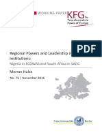 Regional Powers and Leadership in Regional Institutions