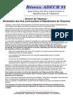 Devenir de l'Opievoy - Déclaration Des Élus Communistes Et Républicains de l'Essonne