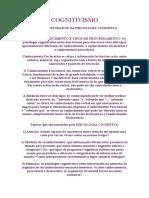 COGNITIVISMO Topicos Estudados Pelas Psicologia Cognitiva