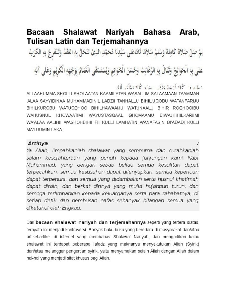 Top Ten Bacaan Sholawat Nariyah Arab Latin Sri Live
