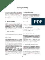 Klein Geometry