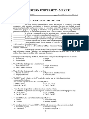 Exercises Corporate Income Taxation Latest | Dividend