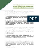 Taera II La Evaluación de Los Aprendizajes en La Educación Basica