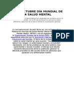10 de Octubre Día Mundial de La Salud Mental