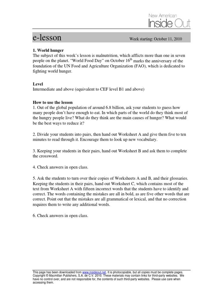 World Hunger - teacher.pdf | Hunger | World Food Programme
