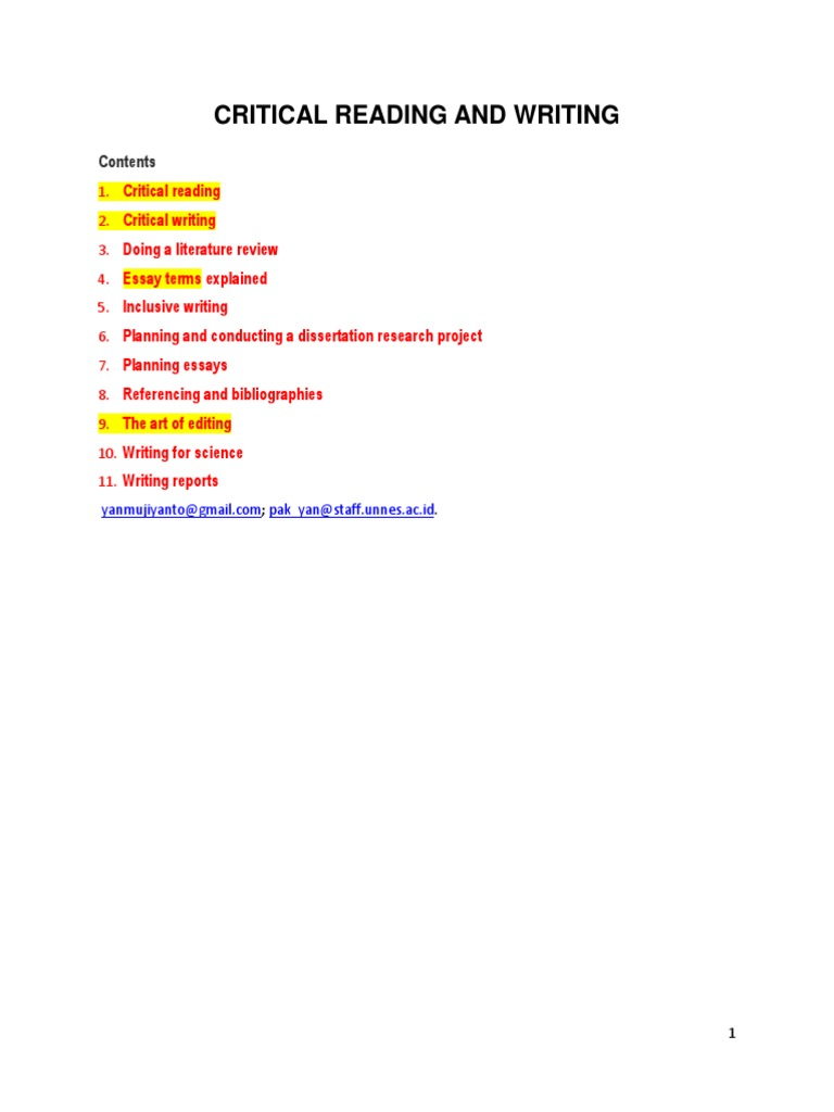 Critical Reading And Writing  Argument  Literature Review