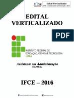 Edital Verticalizado - IfCE-Assist. Em Adm. - PortalConcursos - 2016