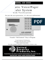 Scientemp - MODEL AD-2000 Automatic Voice/Pager Dialer System with Verification Manual, Brochure