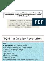 TQM – a Quality Revolution [a conference (2016, OCtober 7-8) presentation]