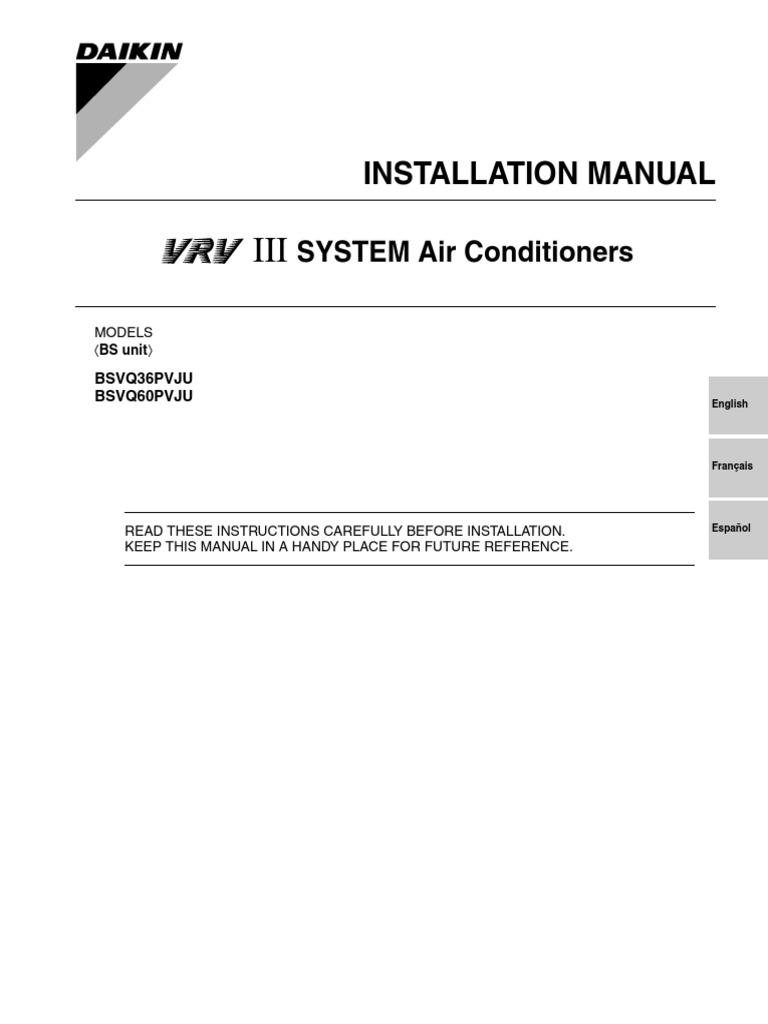 installation manual vrv iii bsvq pvju daikin electrical wiring rh es scribd com daikin vrv 3 service manual software daikin vrv iii service manual