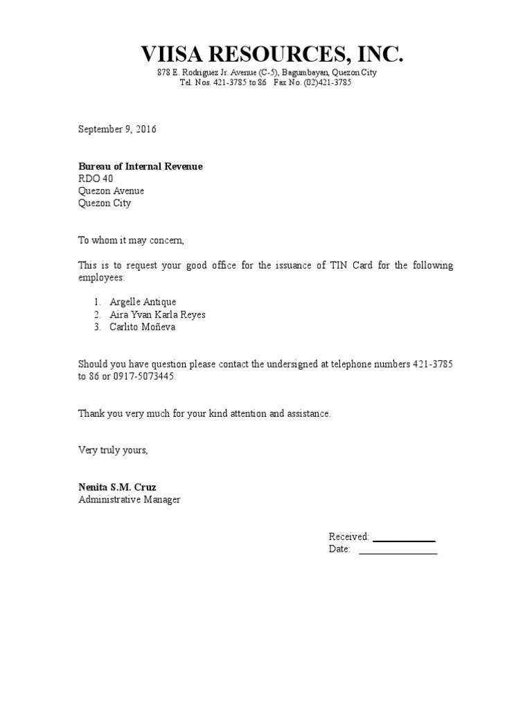 bir request letter for tin
