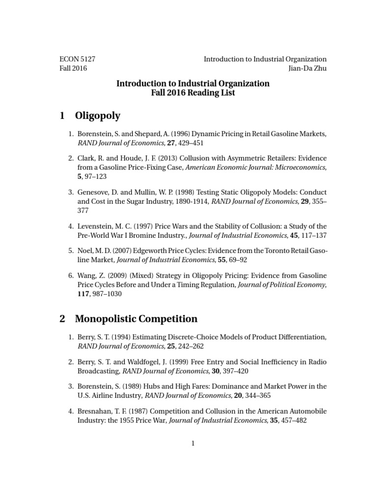 Introduction to Industrial Organization Reading list   Oligopoly