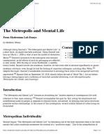 The Metropolis and Mental Life - Modernism Lab Essays