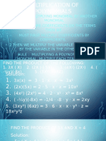 Multiplication of Monomials, Binomials and Polynomials