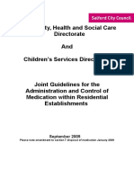 Guidlines and Procedures for Administration and Control of Medication Within Residential Establishments