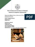 Plan de trabajo para licenciatura en Pedagogía 3° Epistemología