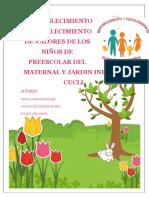 Revista RESTABLECIMIENTO  Y FORTALECIMIENTO DE VALORES DE LOS NIÑOS DE PREESCOLAR DEL MATERNAL Y JARDIN INFANTIL CUCLI