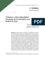 Silvia Rivera Cusicanqui - Violencia e interculturalidad. Paradojas de la etnicidad en la Bolivia de hoy