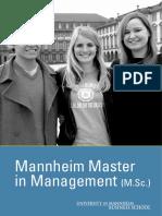 Master in Management Brochure - Mannheim University