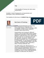 Costs of Training Forum 3