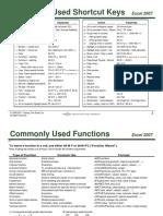 TTS Shortcut Keys Functions Excel 2007