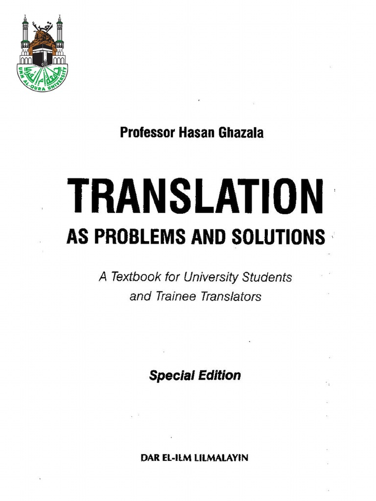translation as problems and solutions hasan ghazala pdf