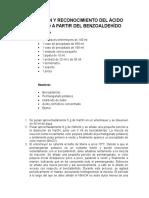 Obtención y Reconocimiento de m Nitro Benzoato de Metilo a Partir Del Benzoaldehído