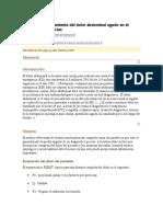 Evaluación y Tratamiento Del Dolor Abdominal Agudo en El Servicio de Urgencias