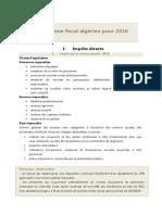 Le Systeme Fiscal Algerien 2016