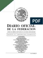 Diario oficial de la federación mexicana del 11 de Noviembre de 2016