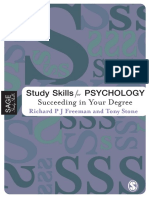 Richard Freeman, Antony Stone Study Skills for Psychology Succeeding in Your Degree Sage Study Skills Series