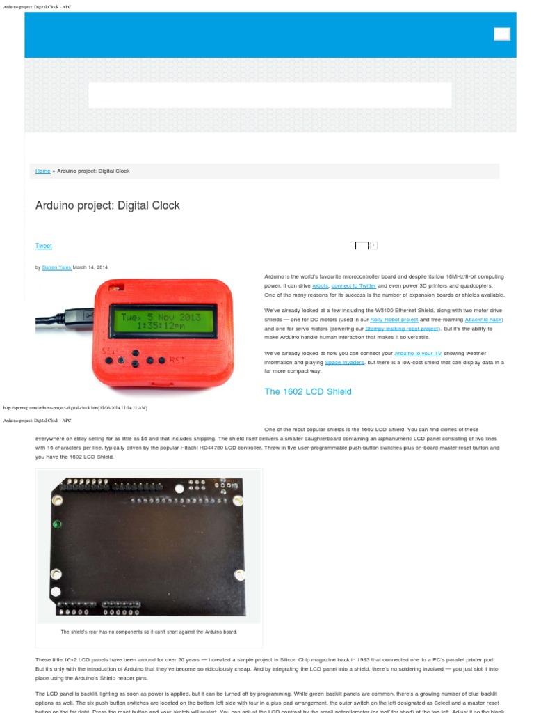 Arduino Project_ Digital Clock - APC | Arduino | Switch