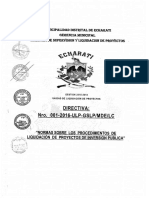 Directiva Para Liquidacion de Proyectos 2016