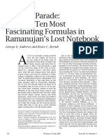 The Top Ten Most Fascinating Formula of Ramanujan