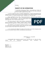 Affid of No Operation- Adway Enterpise
