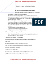 CBSE Class 12 Business Studies Worksheet - Project for Business Studies