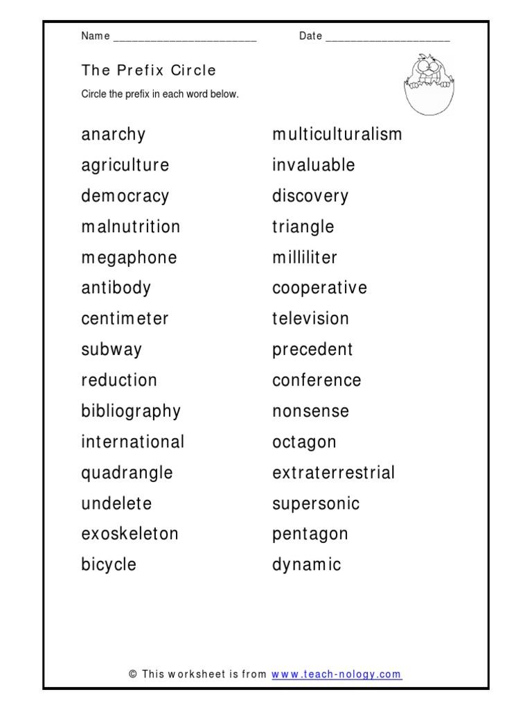 Workbooks teach-nology.com worksheets : Circle Prefixes