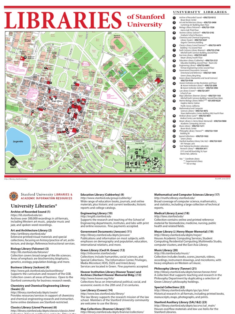Map of Stanford Libraries | Stanford University | Libraries