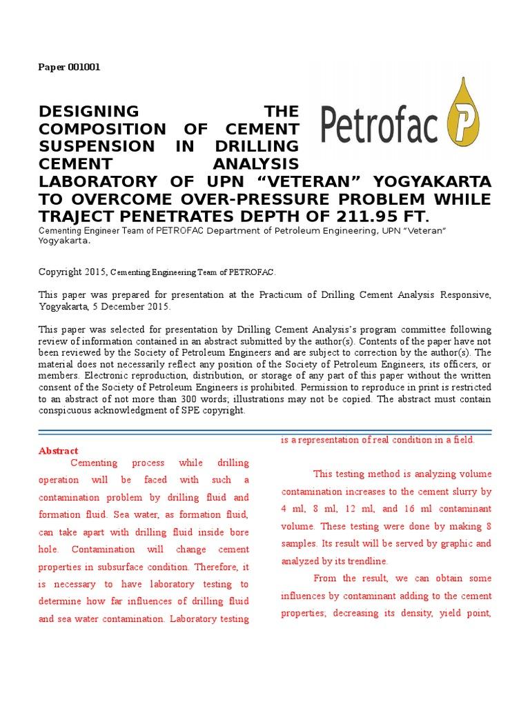 Paper ASP Petrofac | Friction | Cement