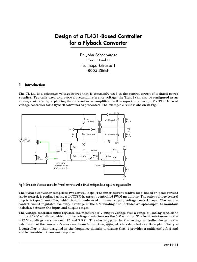 SMPS Fly Back Design Using Tl431 | Amplifier | Control Theory