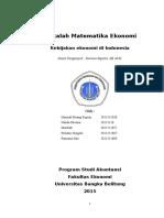 2015 Makalah Matematika Ekonomi (Kebijakan Ekonomi Indonesia)