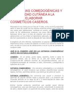 SUSTANCIAS COMEDOGÉNICAS Y REACTIVIDAD CUTÁNEA A LA HORA DE ELABORAR COSMÉTICOS CASEROS