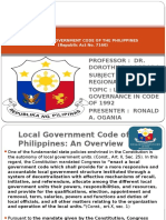 Urban and Regional Planning Report (Local Government Code)